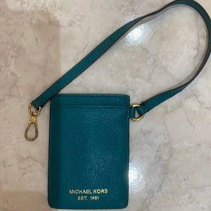 Michael Kors id/ credit card holder teal leather